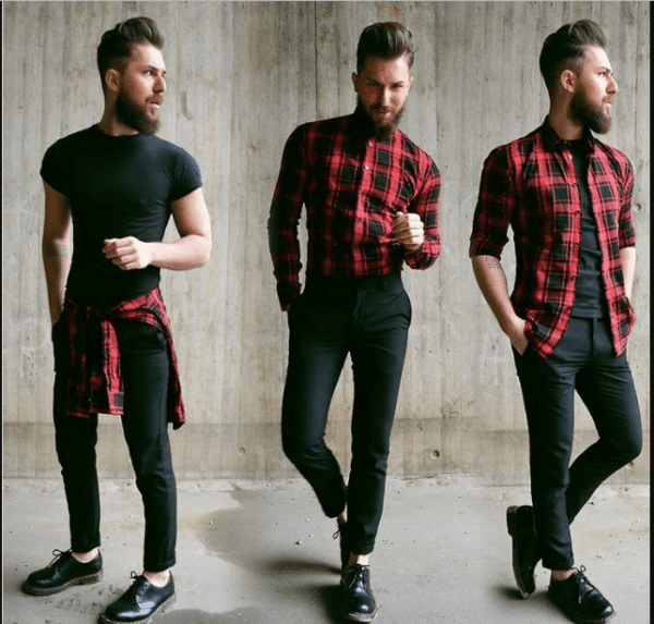 Going-for-Hipster-Look-600x573 30 Ideas How to Wear a Flannel Shirt for Men Stylishly