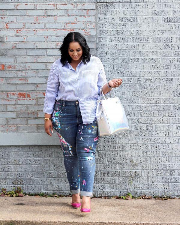 Printed-Jeans-600x750 21 Best Winter Jeans Outfits for Plus-Sized Women to Stay Cool and Chic