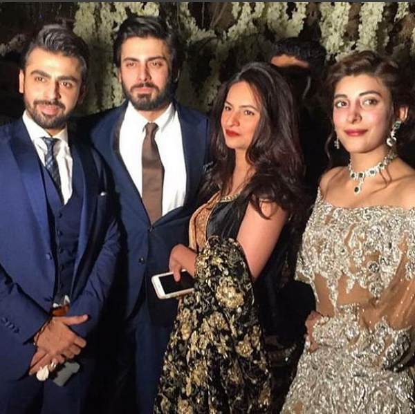 urwa and farhan with fawad khan on barat