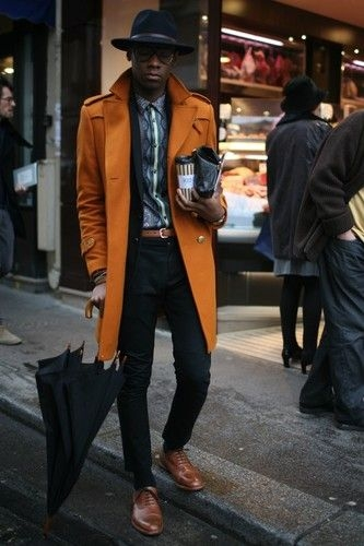 A bright color trench coat in winter