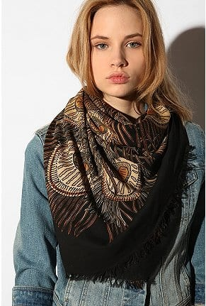 Feather Print Square Scarf