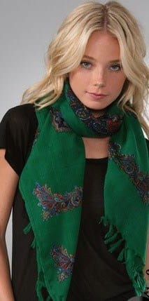 Green Printed Scarves for Girls