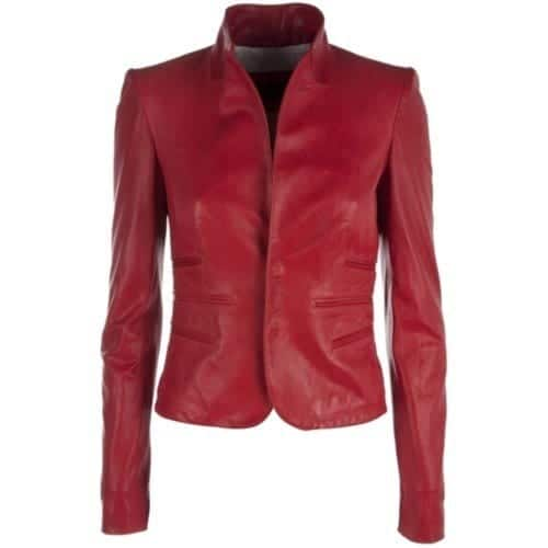 cool women leather jacket red