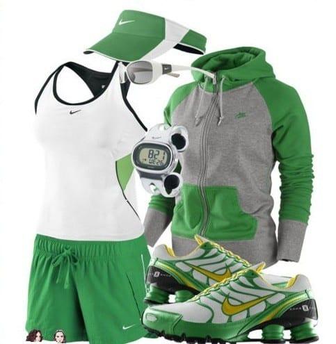 green nike sports outfits women