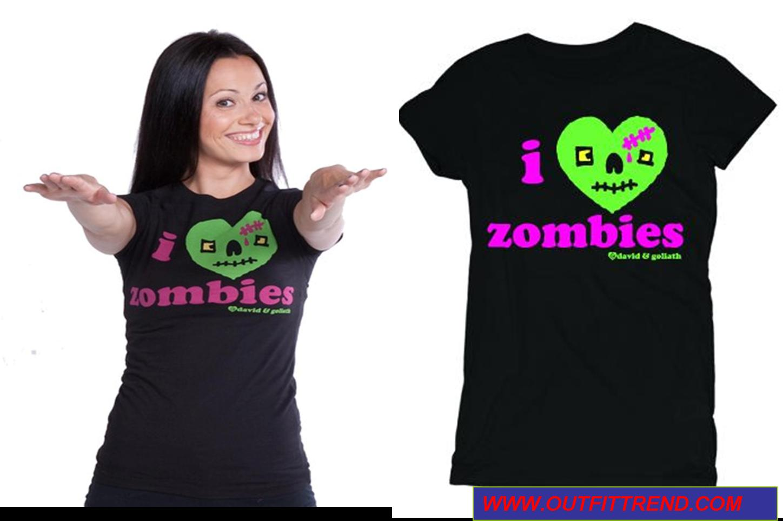 i love zombie t shirt