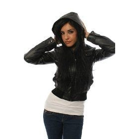 women leather jackets with hoodi