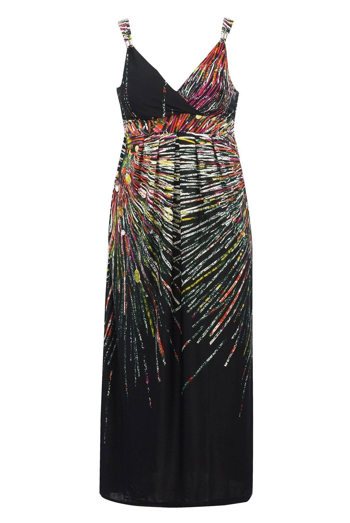 Black Multi Printed Maxi Dress