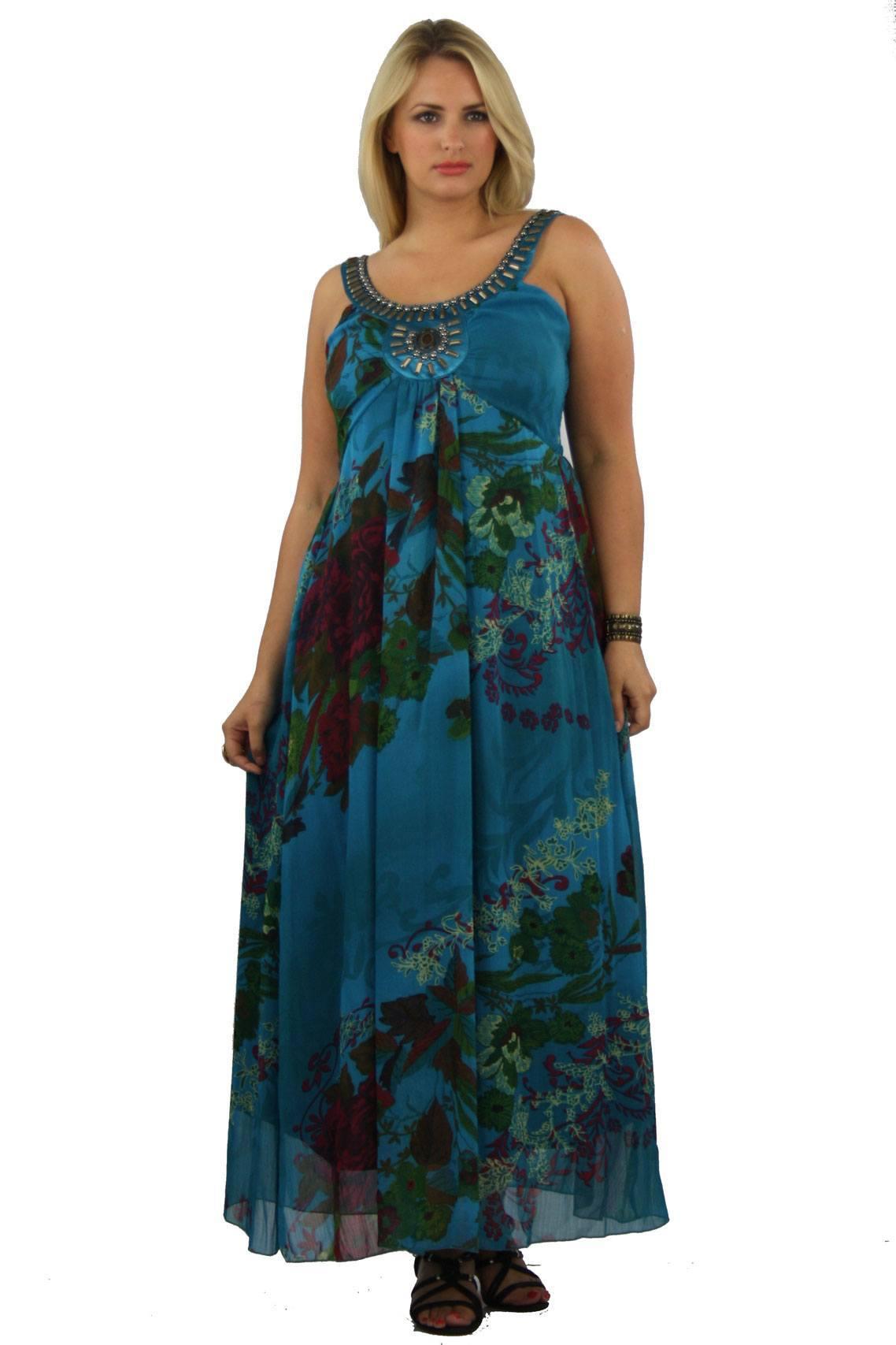 Teal Print Embellished Neck Maxi Dress