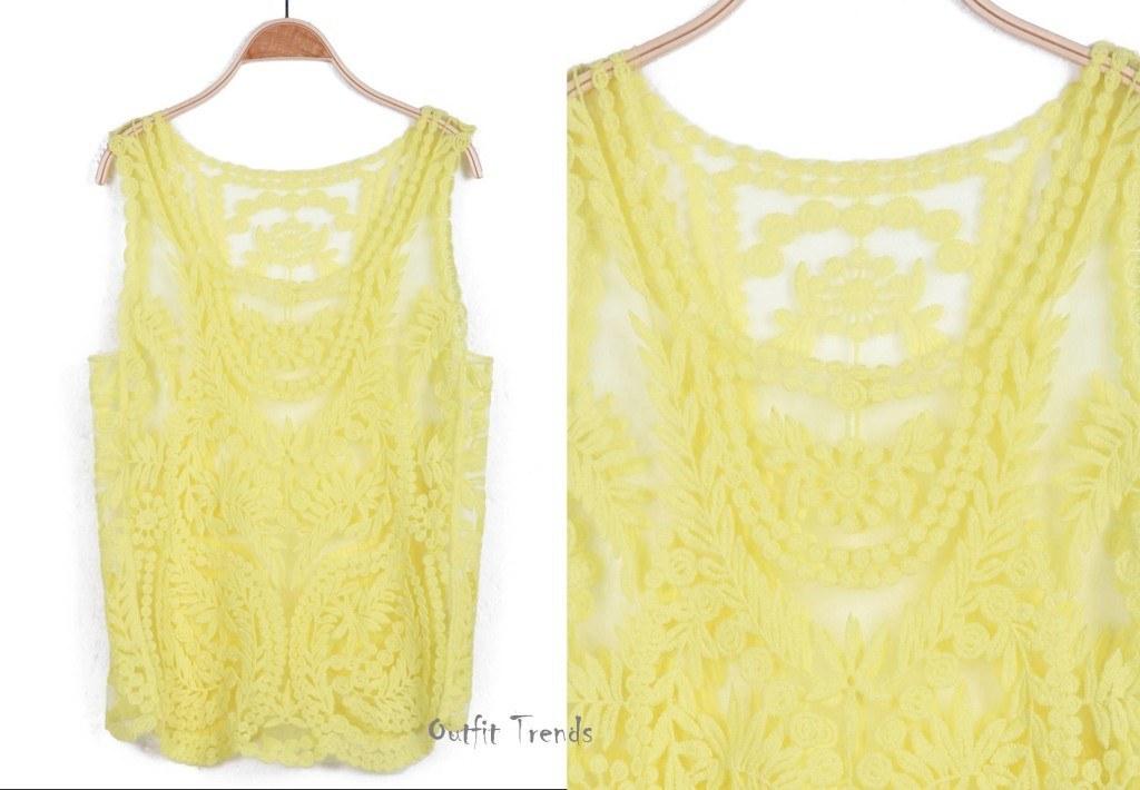 Yellow tank tops fashion women