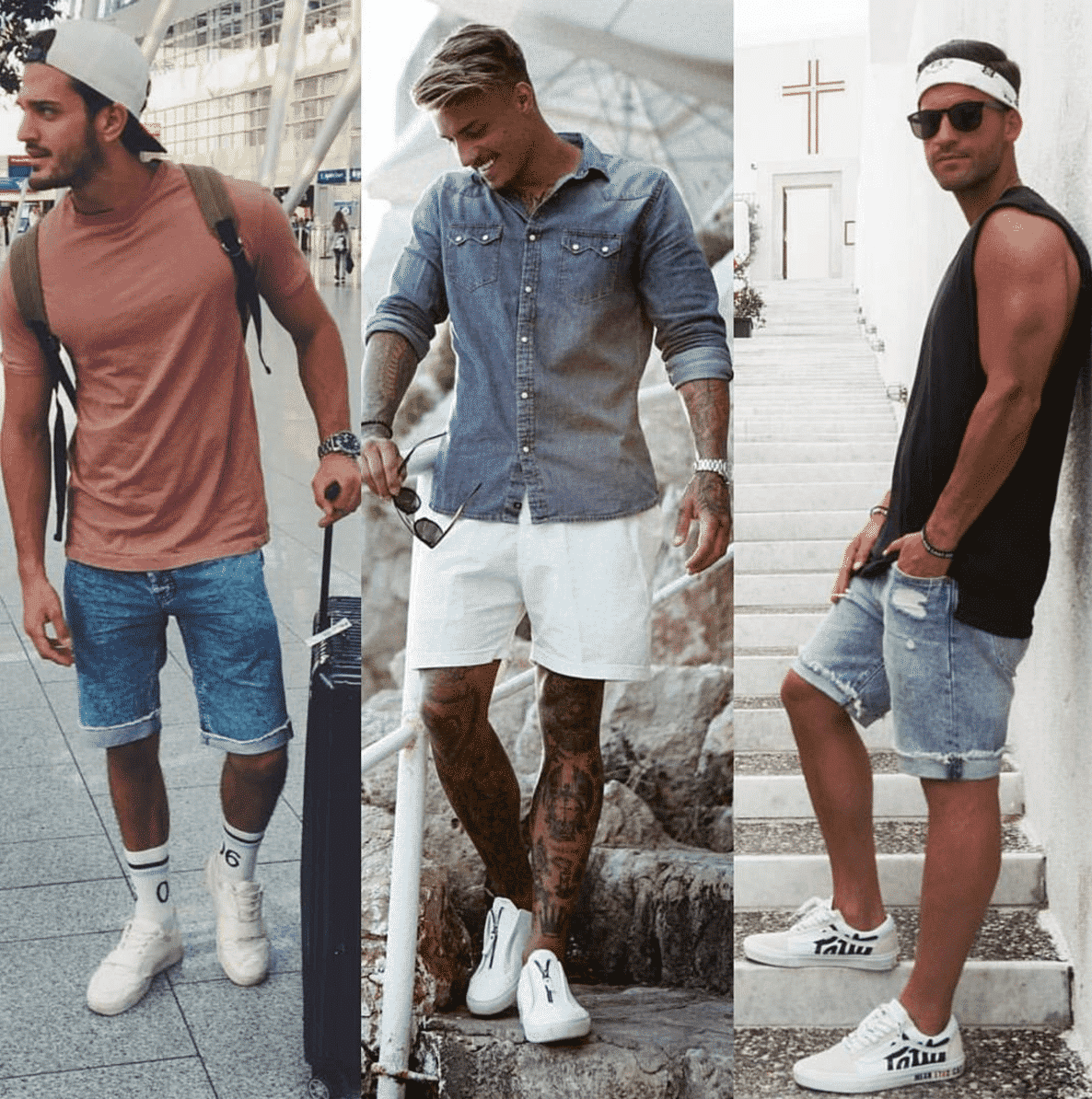 men outfits with denim shorts