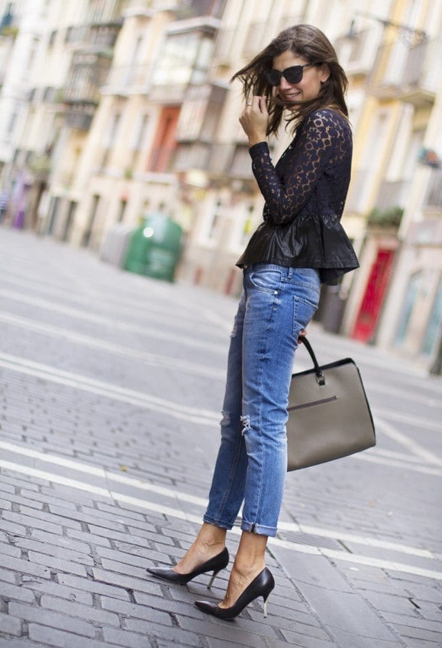 Lace tops with jeans