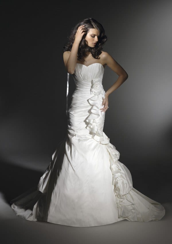 Mermaid Asymmetrical Ruched Skirt wedding gown