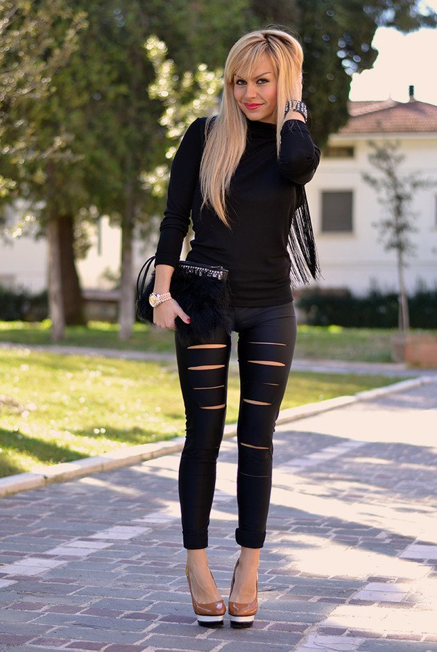 Ripped leather pants women