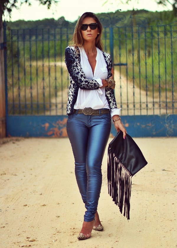 blue leather pants for women