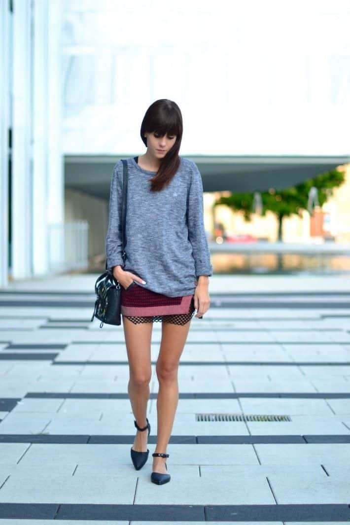 maroon mini skirt for women