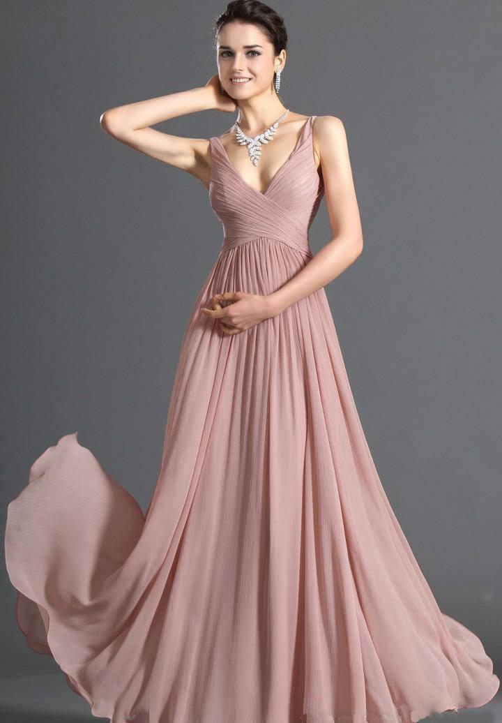 pick chiffon v neck floor length dress