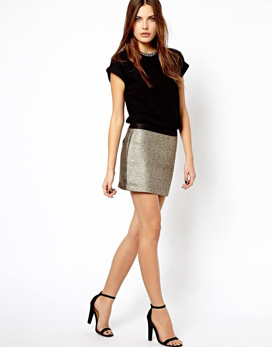 silver grey mini skirt for women