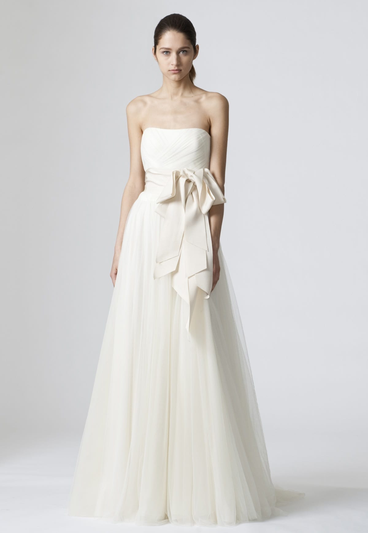 strapless bow front wedding gown