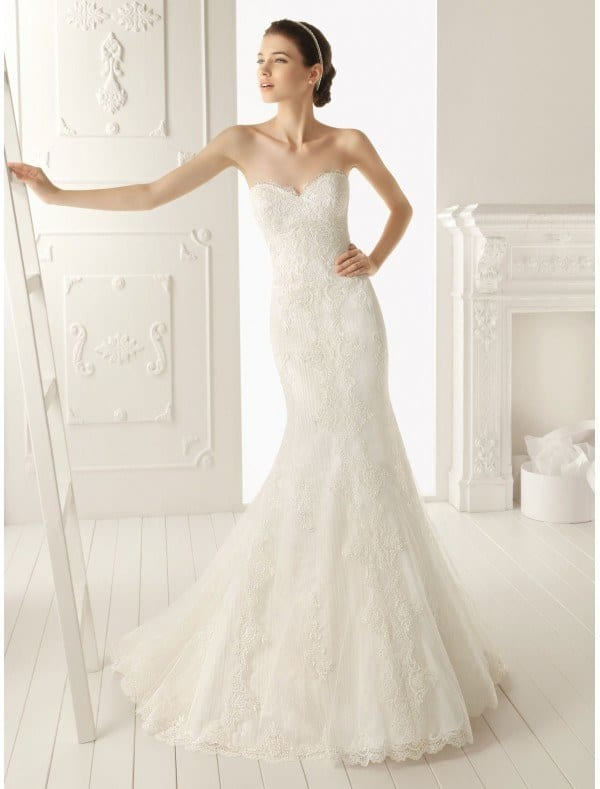 wedding dress with lace apliques front