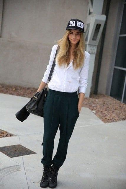 Cara in baggy pants
