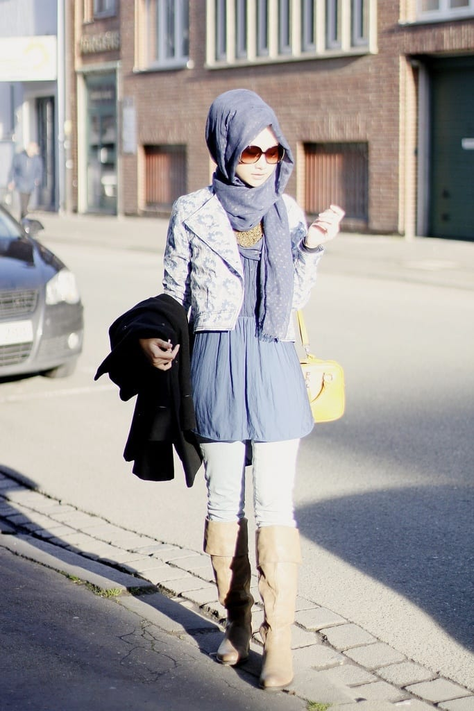Hijab style with long boots