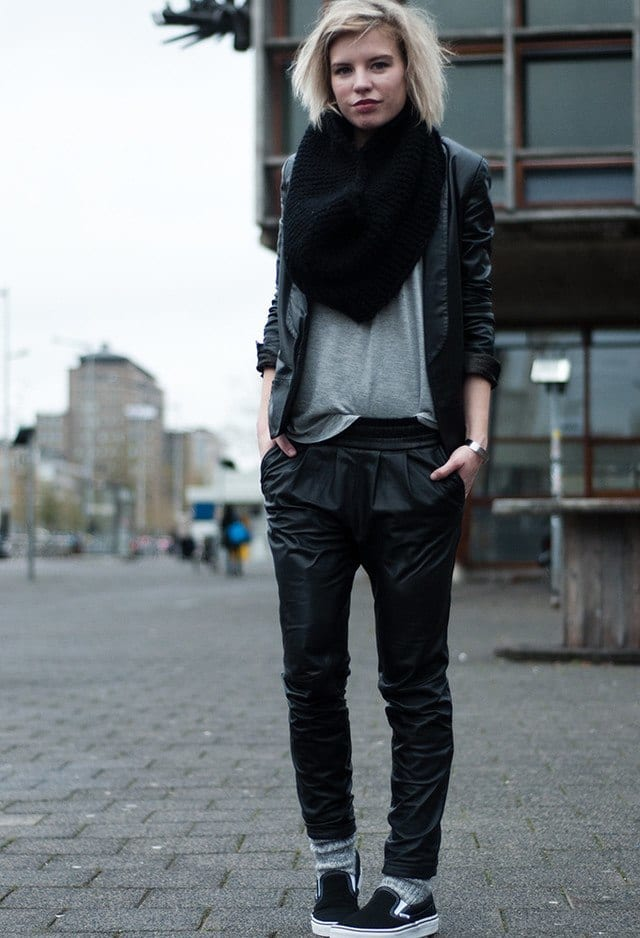 Leather baggy pants