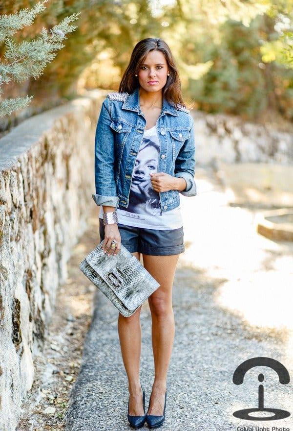 Leather shorts with denim jacket