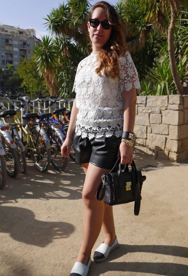 Leather shorts with lace top