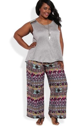 Plus size palazzo pants dark women