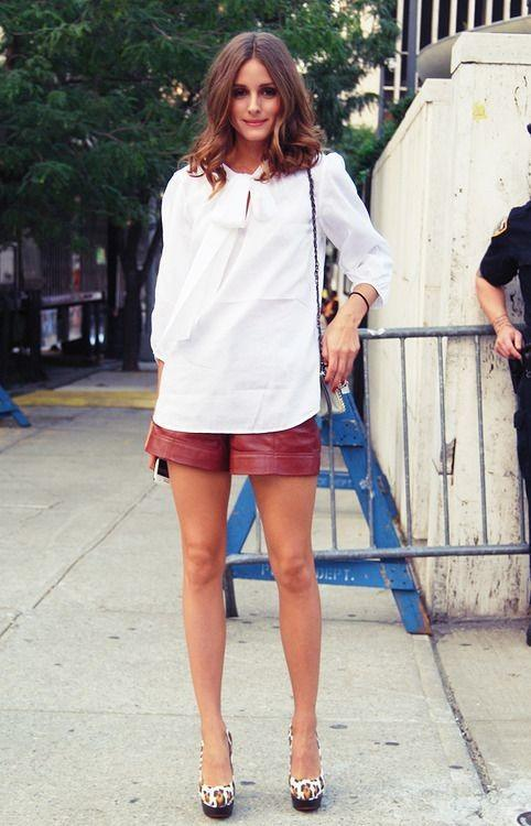 Red leather shorts women