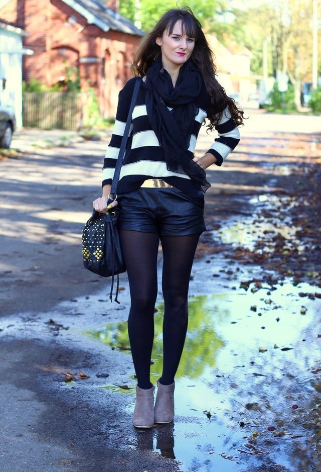 Spring leather shorts