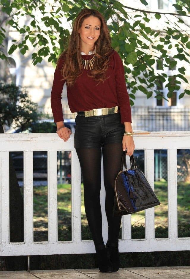 Street style leather shorts