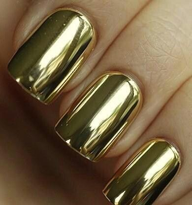 Gold metallic nail fashion