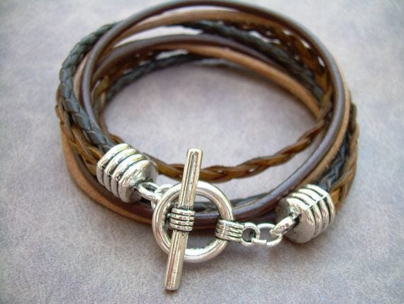 Leather and steel bracelets