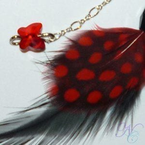 Red and Black Feather Earring