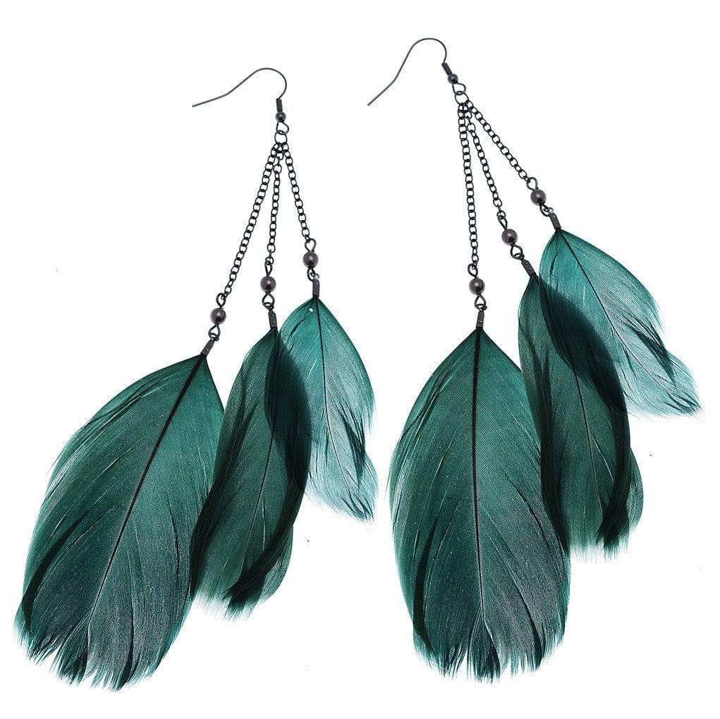 Green Feather Drop Earrings