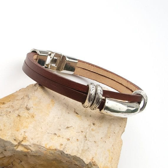 leather bracelet with silver tone spacers