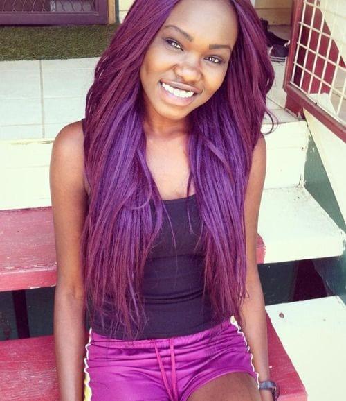African Girls Purple Hairstyles