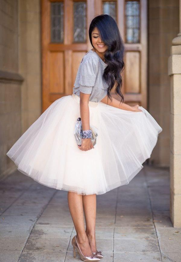 How to wear white tulle skirt