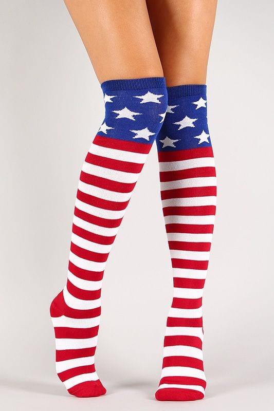 American Flag Thigh High Socks