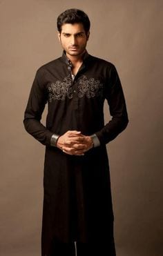 Black Embroided Kurtas men