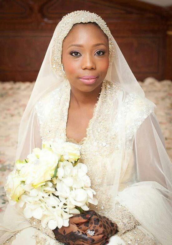 Black Women Hijab Wedding dress