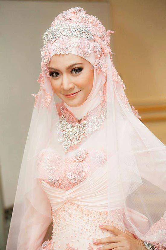 Pink Hijab Wedding Dress