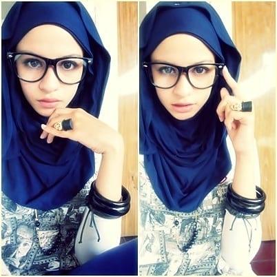 Stylish hijab with glasses