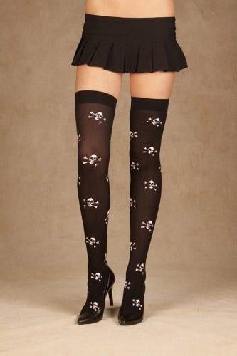 Thigh High Skull Print Stockings