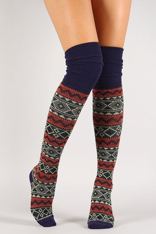 Tribal Stitch Thigh High Socks