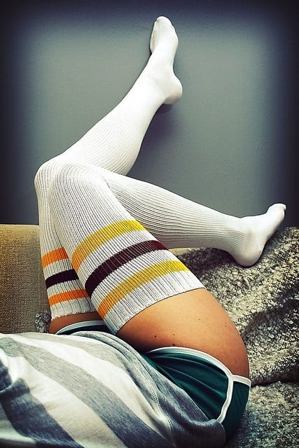 Wool Printed Thigh Highs - Stockings
