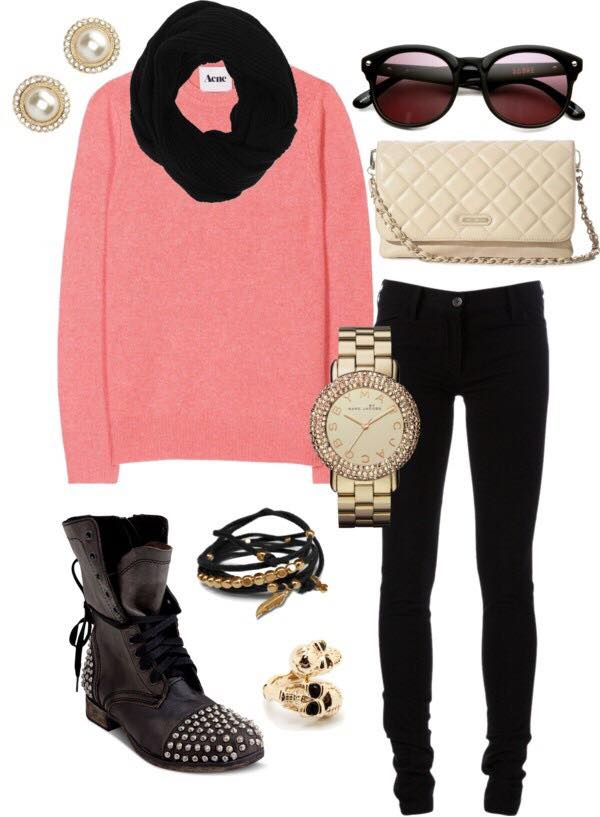 funky winter look teenage girls