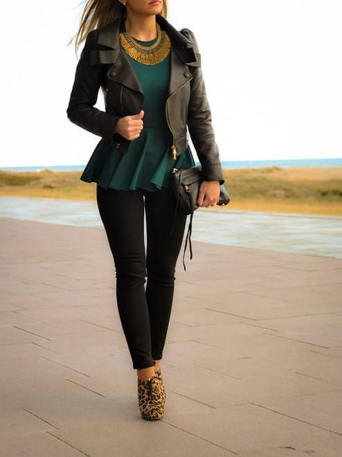 how to wear a peplum top with a jacket