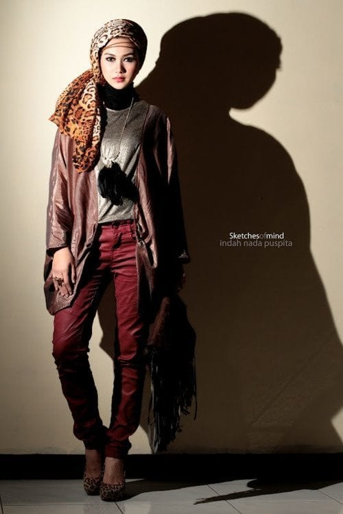 indah nada Funky Hijab style